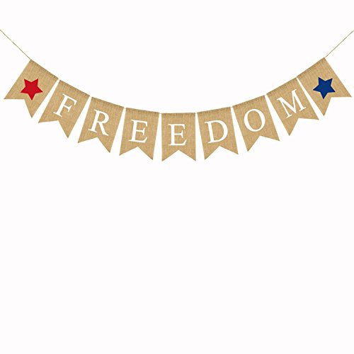 BinaryABC 4th of July Independence Day Burlap Banner,