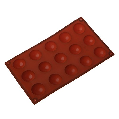 Isguin 15 Cavities Large Hemisphere Chocolate Silicone Baking Mold Cake Dome Mould Mat ()
