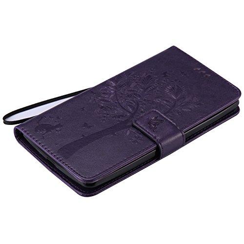 OuDu Funda LG G4 Stylus Carcasa de Billetera Funda PU Cuero para LG G4 Stylus Carcasa Suave protector con Correas de Teléfono Funda Arbol Flip Wallet Case Cover Bumper Carcasa Flexible Ligero Ultra De