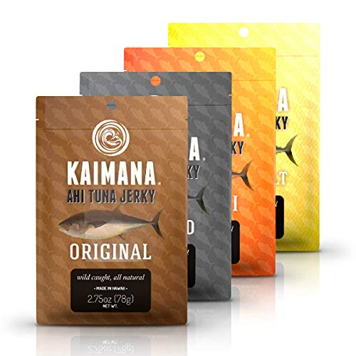 Kaimana Jerky Ahi Tuna 4 Pack Variety Bundle - All Natural & Wild Caught Tuna Jerky. Made in USA. 23g Protein & Good Source Of Omega-3