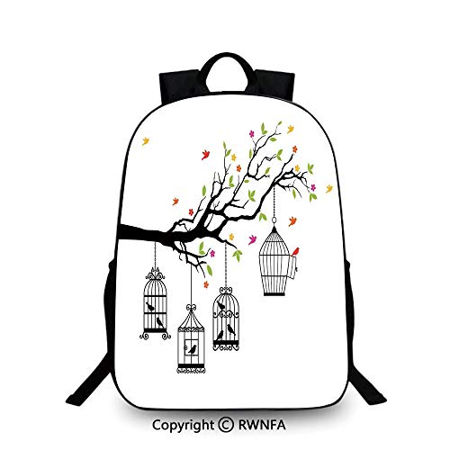 Campus Both shoulders school bag,Floral Colorful Tree Branch with Birds and Open Cages Freedom Theme Spring Liberty Home School Backpacks For boys Multi