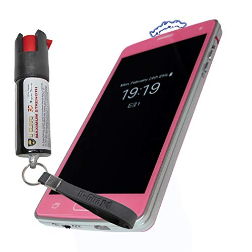 (Cell Phone Stun Gun Pepper Spray Keychain Self Defense Weapons Kit. Disguised Taser To Look Like A Fake Smart Phone. Mini Non-Lethal Police Defence Spray Best Protection Tools For Men Or Women (PINK))