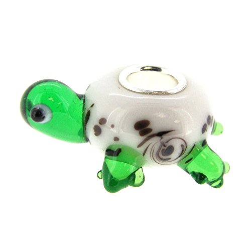 Sterling Silver Glass Turtle European Style Bead Charm Queenberry PA2327X1
