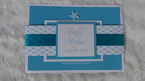 100 Wedding Invitations Beach Under The Sea Net Starfish Ocean Turquoise Blue + Envelopes + Response Cards Set -