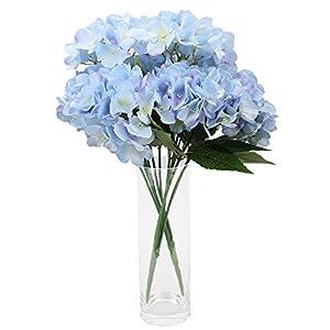 Duovlo Artificial Silk Hydrangea Flower with 6 Heads Flower Bunch Bouquet Home Wedding Garden Floral Decor 2