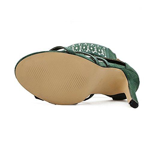 5423a8f907809 Mules À De Femmes Habillées Dodumi Exotiques L'été Vert sandales Plates  Hauts Luxe La Talons Chaussures Mode Sandales Compensees Pour Bottes Femme  ...
