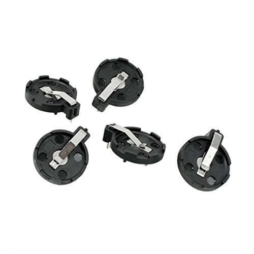 SODIAL(R) CR2016 2025 2032 Coin Cell Button Battery Holder Socket Black 5 Pcs