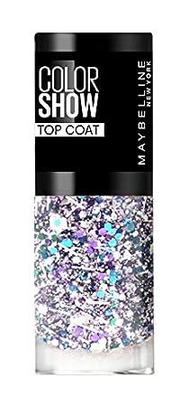 Maybelline ColorShow Nagellack, Nr. 90 Crystal Rocks, bringt die neuesten Laufsteg-Trends aus New York auf die Nägel, silberner Überlack mit bunten Glitzerpartikeln, 7 ml GEMEY MAYBELLINE 30137547