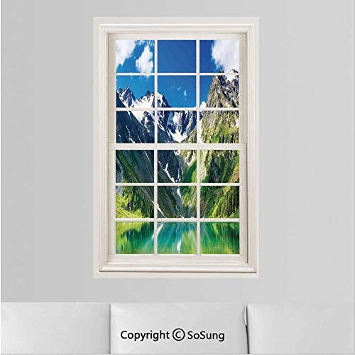 (Landscape Removable Wall Sticker/Wall Mural,Majestic Lake in Altai Mountains Snowy Peaks Wooded Skirts Sky Creative Window View design Wall Decor,19.6