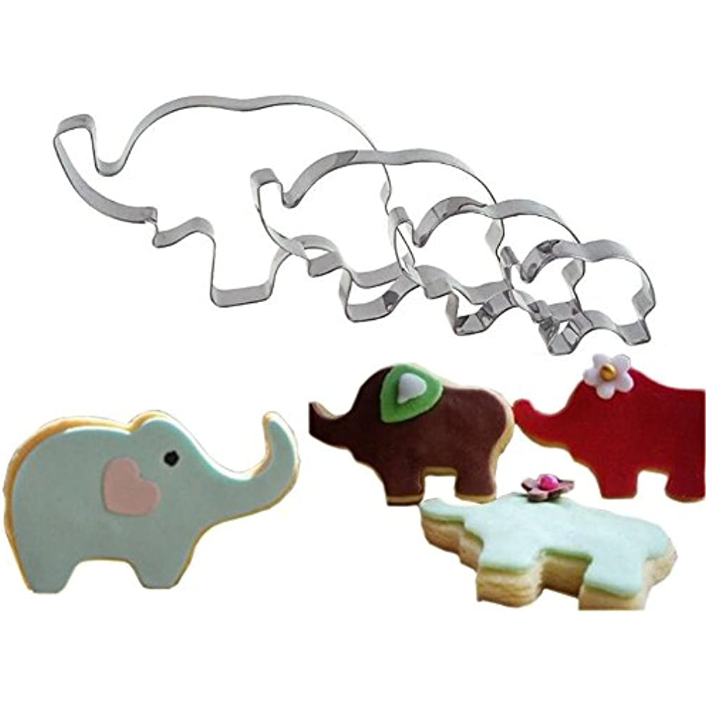 4Pk Elephant Cookie Cutter Shapes Set Baby Shower Cookie High Quality Food-Grade