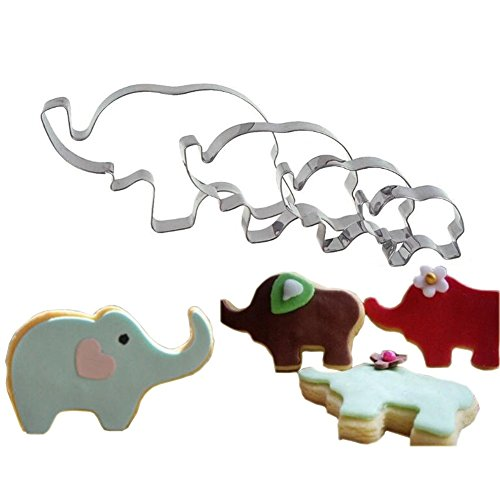4 Pack Elephant Cookie Cutter Shapes Set Stainless Steel Elephant Shaped Baby Shower Cookie Molds