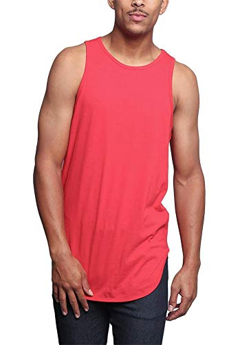 (Victorious Solid Color Long Length Curved Hem Tank Top TT47 - RED - X-Large -)