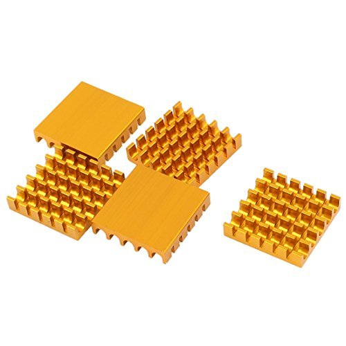 NA 5 Pieces of Aluminum Radiator in Golden Tone Heatsink 22 mm x 22 mm x 5 mm