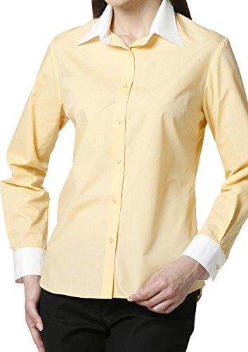 LEONIS Mujer de fácil cuidado popelín camiseta de manga larga Mellow Orange