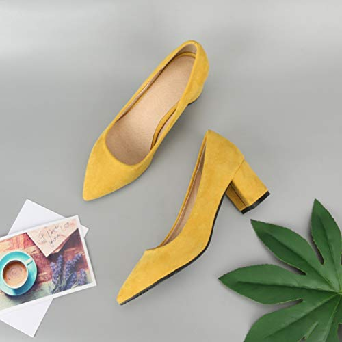 Puntiagudos Bombas Las de Trabajo Zapatos Gruesas Altos Zapatos resbal Tacones Mujeres YwY5xrfq