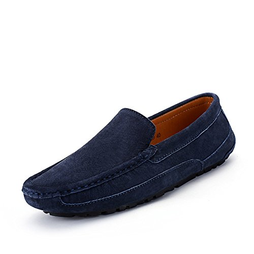 Penny Trabajo Hecho Mocasines de Negocios Mocasines los Slip Armada Cuero Zapatos de Planos Gamuza Barco Genuino Hombres Mano Zapatos de Moda Mocasines de Nhatycir Conducción on a Sutura Zapatos de wyqX0IYw