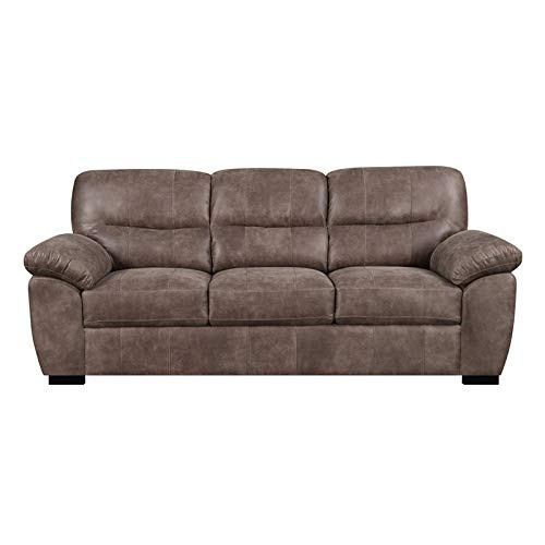 Pemberly Row Jesse Almond Brown 92'' Sofa with Faux Leather