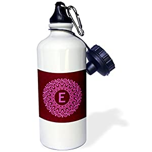 "3dRose wb_32203_1 ""Monogram E pink and magenta mandala on rich wine red muted grunge damask"" Sports Water Bottle, 21 oz, White"