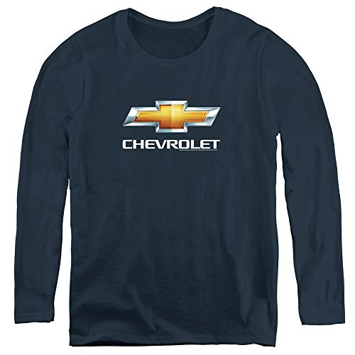 (Chevrolet Chevy Bowtie Stacked Adult Long Sleeve T-Shirt for Women, Large Navy)