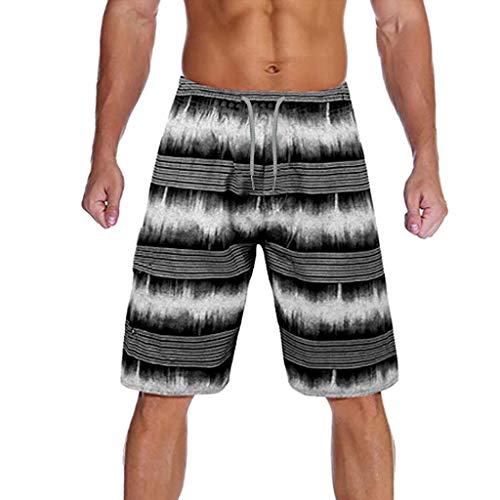 Landscap_Men Swim Trunks and Workout Shorts - Camouflage Swimsuit Or Athletic Adults Boys Swimwear with Pockets (Black,S)