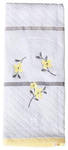 Spring Garden Embroidered White Hand Towels - Bathroom Showe