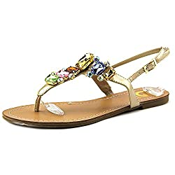 G By Guess Women's Kyli Flat Thong Crystal Sandals, Silver, Size 7.5
