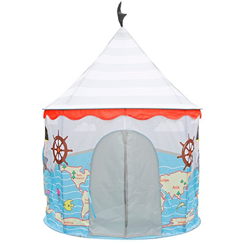 Children Play Tent - Corsair Pirate Ship Castle Pop-Up Kids Playhouse by Wonder Space, Comes with Carrying Case, Indoor & Outdoor Uses Toy for Boys and Girls