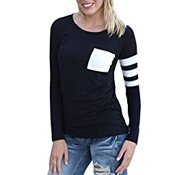 Comemall Girl Workout Jogging TShirt Fitted Long Sleeve Tops/ Black / XL