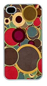 Multicolor Circles Brown PC case Cover for iPhone 4 and iPhone 4s ¡§C White