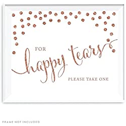 Andaz Press Wedding Party Signs, Rose Gold Faux Glitter, 8.5x11-inch, For Happy Tears Tissue Kleenex Ceremony Sign, 1-Pack, Champagne Copper Colored Party Supplies Decorations