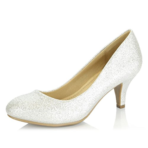 Toe Stacked Round Heel Pumps (DailyShoes Women's Comfortable Elegant High Cushioned Casual Low Heels Formal Office Lady Round Toe Stiletto Pumps Shoes, Silver Gl, 8.5 B(M) US)