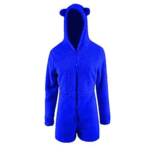 Okvpajdo Women Sherpa Fleece Pajama Suit Hooded Cute Bear Ears Long Sleeve Zipper Short Jumpsuit Sleepwear Romper (M, Dark Blue) (Romper Suit Fleece)
