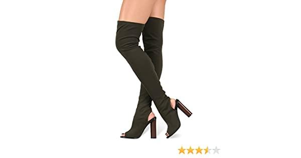 Cape Robbin Connie-11 Stretchy Over Knee Thigh High Block Heel Pull On Boot