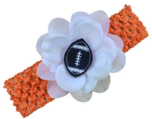 Baby Embroidered Felt Football Flower Headband (Orange Band/Black Ball)