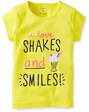 Baby Girls Short Sleeve 'I love shakes and smiles' Yellow S/S Tee