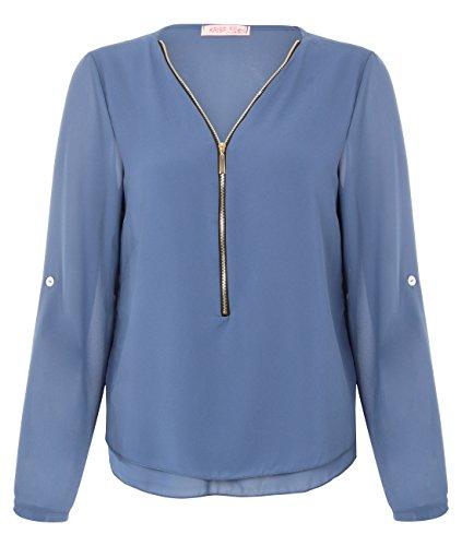 KRISP Womens Sexy V Neck Zipper Chiffon Blouse Long Sleeve Loose Fit Top Blue