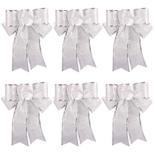 Silver Glitter Christmas Tree Ornaments Ribbon Bows for Home Christmas Tree Wreaths Decorations, 6ct