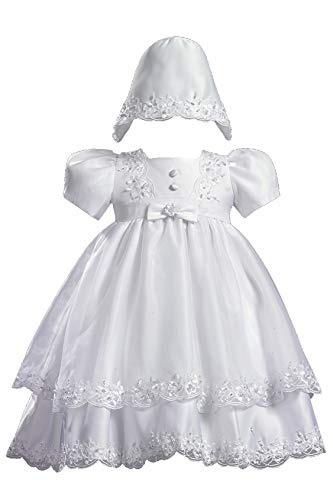 Lito Childrens Wear Girls Christening 2 Piece Satin Dress w/Organza Overlay (S (3-6 MOS)) White