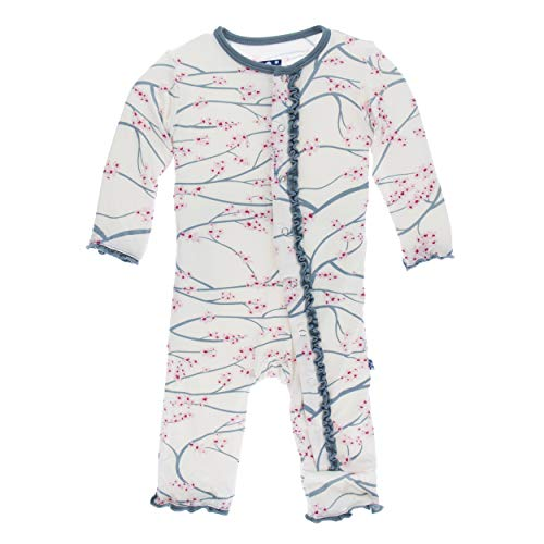 Kickee Pants Little Girls Print Muffin Ruffle Coverall Snaps - Natural Japanese Cherry Tree with Dusty Sky Trim, 18-24 Months (Snap Pajama Pant)