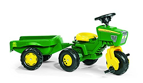 rolly toys John Deere Three Wheel Trac Pedal Tractor with Detachable Trailer, Youth Ages 2.5+