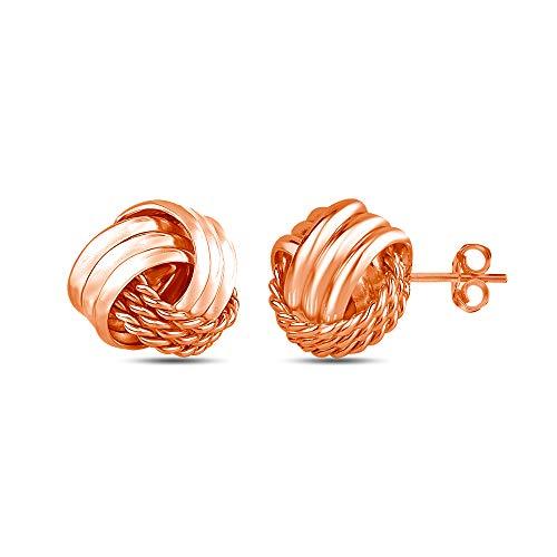 LeCalla Sterling Silver Jewelry Italian Design Love Knot Stud Earrings for Women