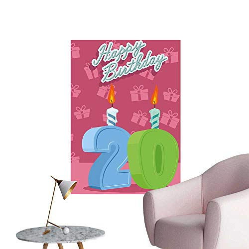 Wall Decals Birthday Party Theme Lettering on Pink Backdrop Fern Green and Baby Blue Environmental Protection Vinyl,16