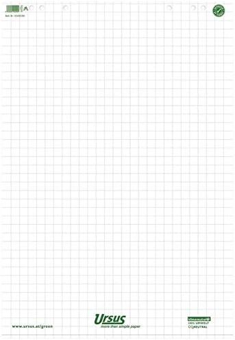 Ursus Green 608580020 Flip Chart-Block, Flip Chart-Papier - Zubehör Flipchartblock 68x99 20 Blatt kariert