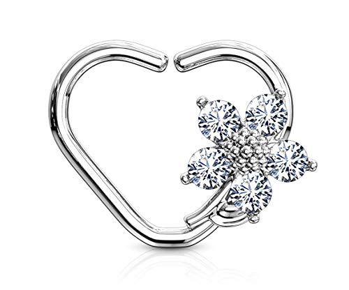 Earrings Large Studded Heart (Forbidden Body Jewelry Platinum Plated Heart w/CZ Flower Daith & Cartilage Hoop Earring (Left Ear))