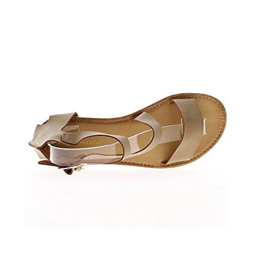 Sandales taupe avec semelle blanche