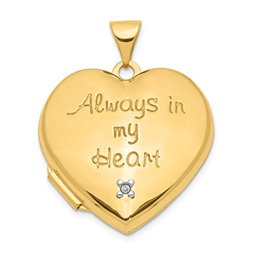 14k Yellow Gold 21mm Heart Diamond Photo Pendant Charm Locket Necklace That Holds Pictures Inside Fine Jewelry For Women Gift Set