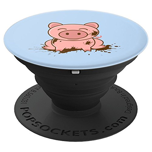 Happy Pig In Dirt Art   Little Hog Fanatics Design Gift - PopSockets Grip and Stand for Phones and Tablets -
