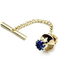 Mens Crystal Tie Tack with Chain Gold Tie Clip Party Accessories 11 Color Options