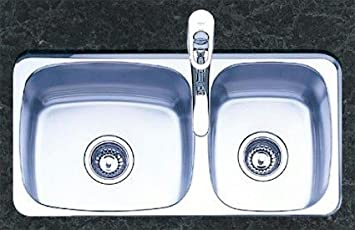 Oliveri 400 0 Stainless Steel Sink, Double Basin Large/Small, Small Basin