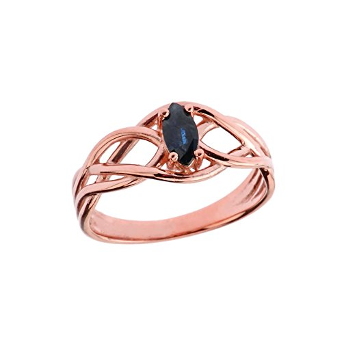 (Exquisite 14k Rose Gold Sapphire Celtic Knot Engagement/Promise Ring (Size 6.25))